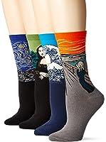 Field4U 4 Pairs Womens Famous Painting Art Printed Casual Crew Socks