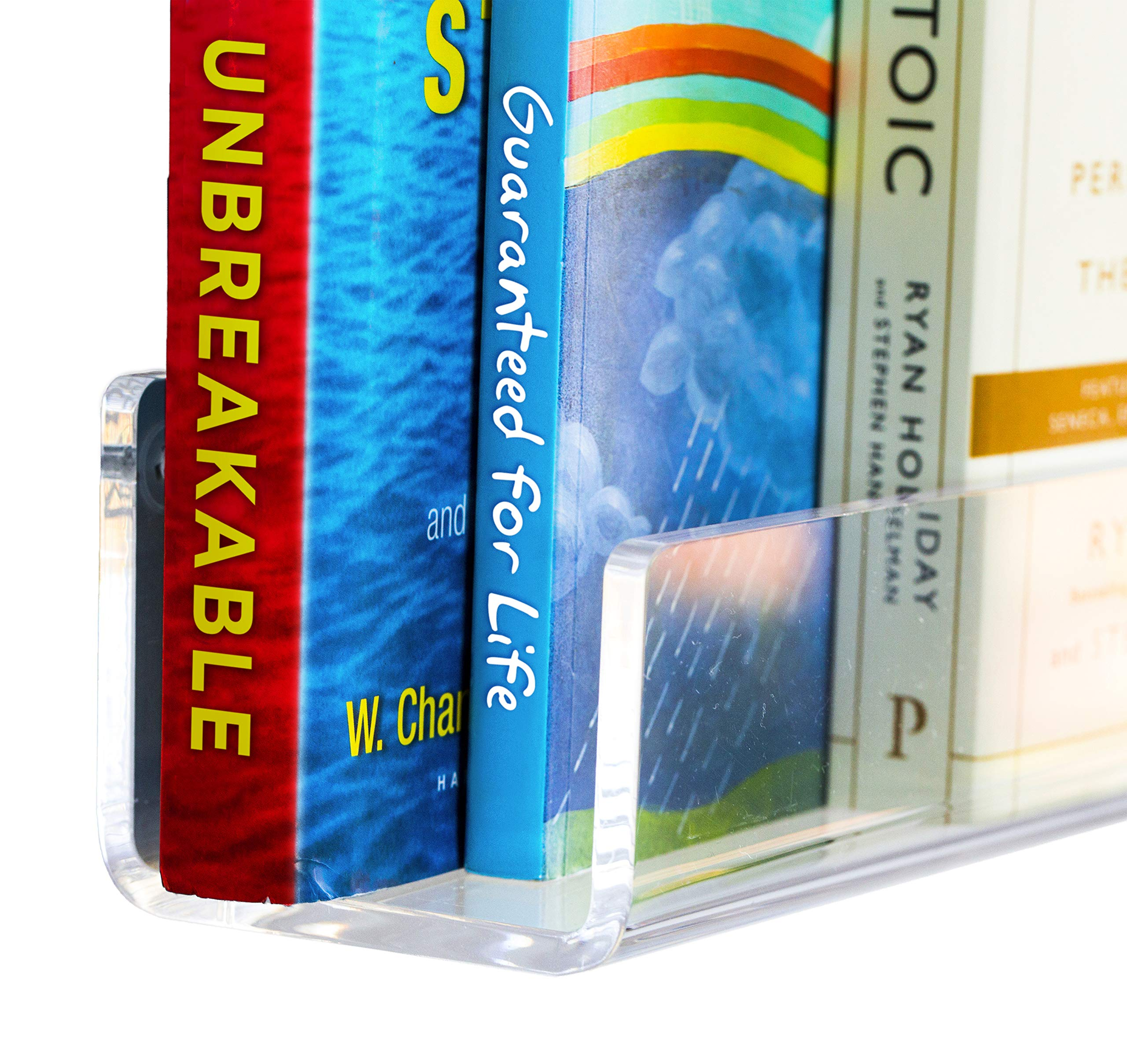 CLOUDZERO Acrylic Bookshelf. Unbreakable 26 inch Bookshelves. 6mm 1/4 inch Thick. 3 Lengths Available: 16/26/38 inch; Replace Your Bookcase with Acrylic Shelves. Gift Boxed. Hardware incl