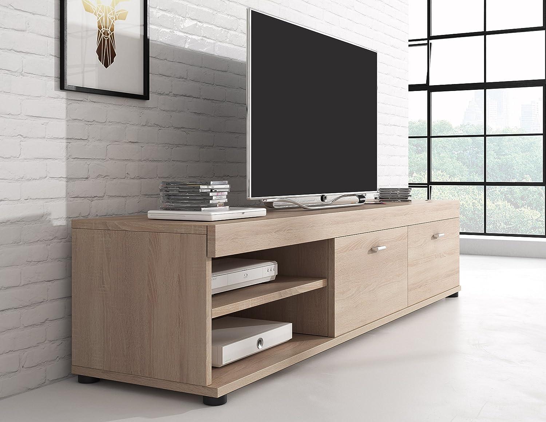 Tv Unit Cabinet Stand Elsa Sonoma Light Oak Wood Effect 140 Cm  # C Discount Meuble Tv