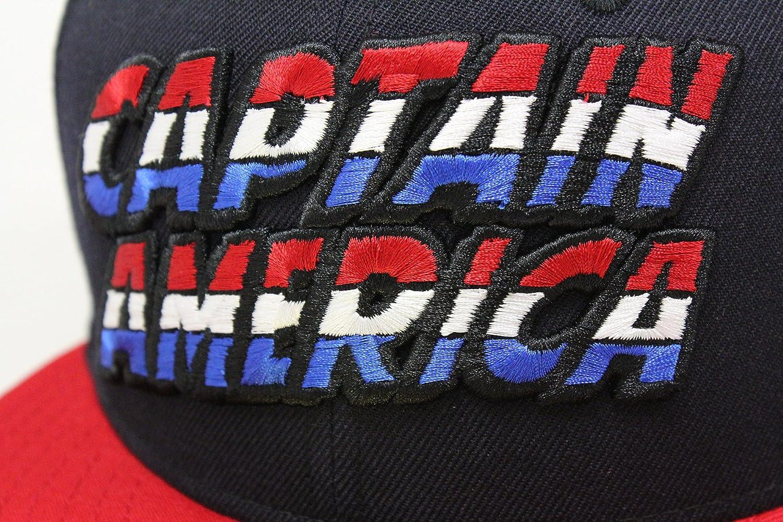 8bc39646c89 Captain America Liberty Navy Blue Battle Red Custom Marvel Comics New Era  Fitted Cap at Amazon Men s Clothing store