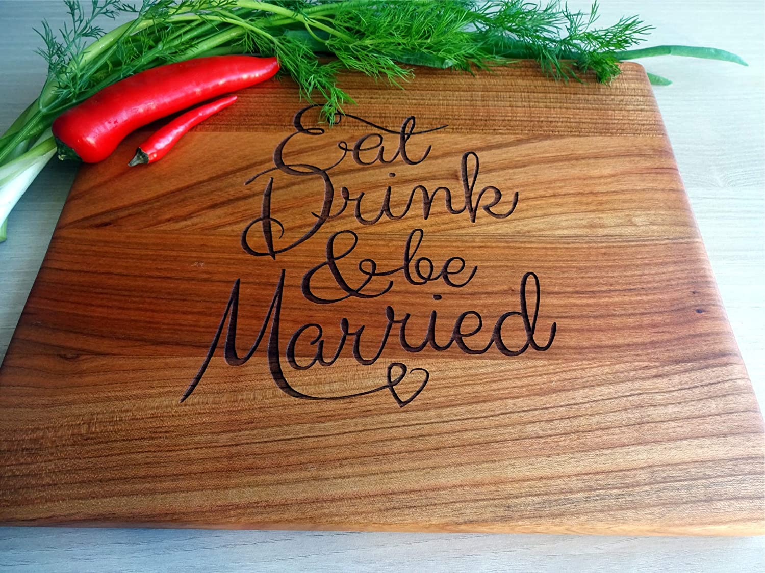 Cutting board EAT DRINK /& BE MARRIED 12x10 inches Cherry handmade Gift for friend housewarming wedding