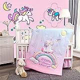 La Premura Unicorn Baby Nursery Crib Bedding Set for Girls – Baby Unicorn & Rainbows 3 Piece Standard Size Crib Bedding…
