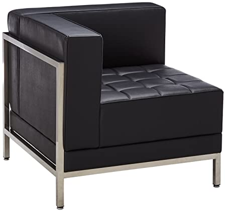 Flash Furniture HERCULES Imagination Series Contemporary Black Leather Left Corner Chair with Encasing Frame