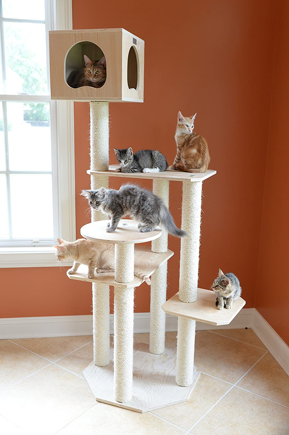 This cat tree without carpet has 4 scratching posts covered in sisal from tip to top, 4 platforms and one sleeping condo/cubby.