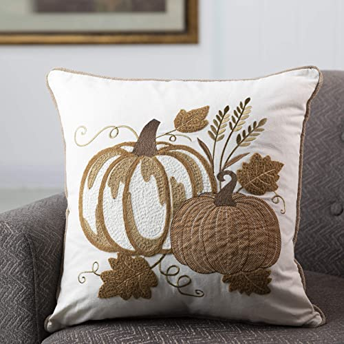 Glitzhome Fall Throw Pillow Cover 18×18 Decorative Square Throw Pillow Cover Rustic Holiday Throw Pillow Covers for Sofa Couch Bed Great for Fall Harvest Thanksgiving