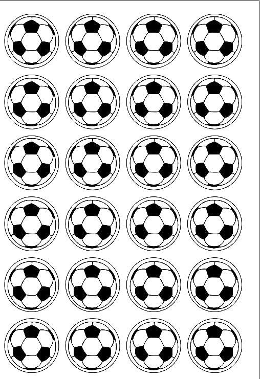 24 PRE CUT y un balón de fútbol comestible cuadrícula molde ...