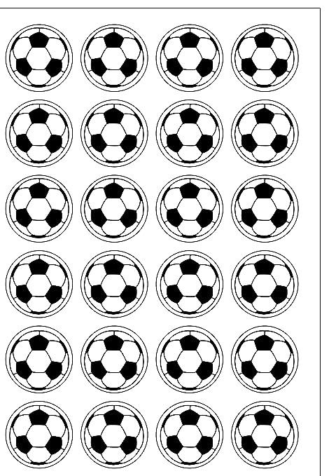 24 PRE CUT y un balón de fútbol comestible cuadrícula molde redondo adornos de decoración de