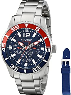 Nautica Mens NAD16503G NST 07 Multi Analog-Display Japanese Quartz Silver-Tone Watch