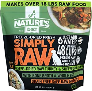 Nature's Diet Simply Raw Freeze-Dried Raw Whole Food Meal - Makes 18 Lbs Fresh Raw Food with Muscle, Organ, Bone Broth, Whole Egg, Superfoods, Fish Oil Omega 3, 6, 9, Probiotics & Prebiotics