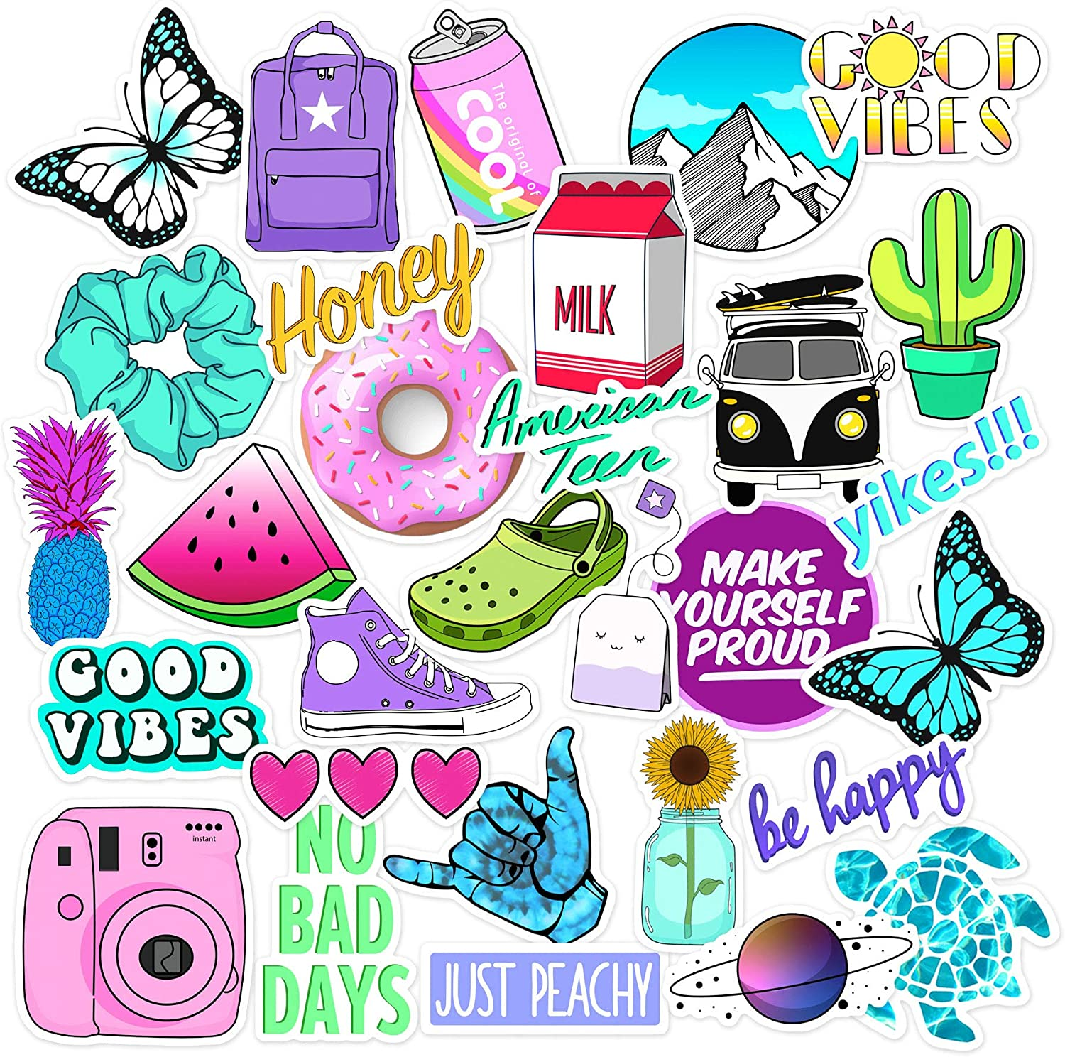 VSCO Stickers Big 35-Pack Stickers for Water Bottles,Hydro Flask,Teens. Pura vida Stickers for Teen Girls, hydroflask, Laptop