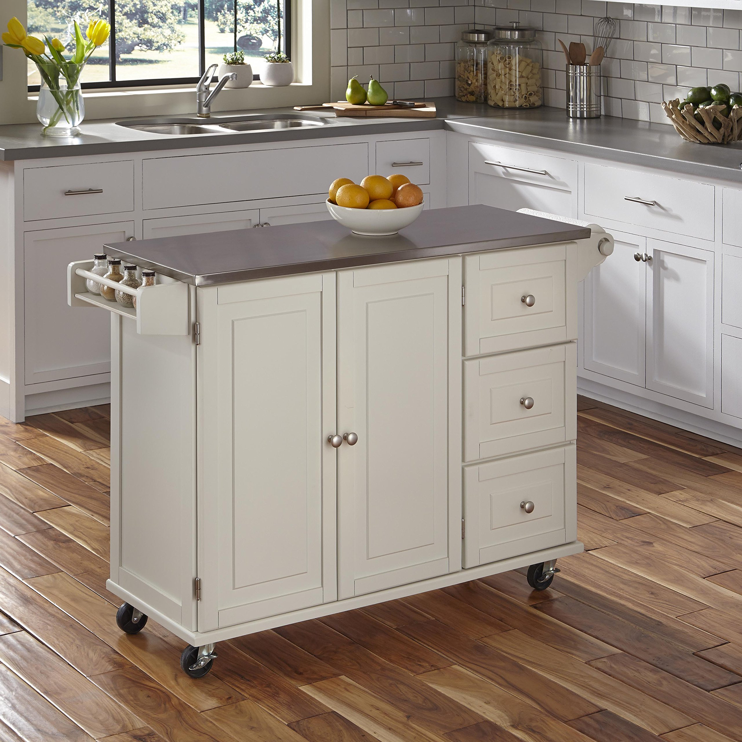 Liberty White Kitchen Cart with Stainless Steel Top by Home Styles by Home Styles