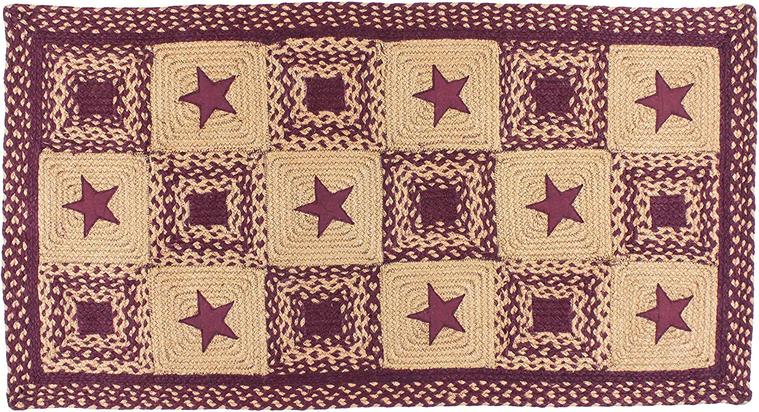 IHF Braided Rectangle Area/Accent Rug Applique Country Star Wine 20X30