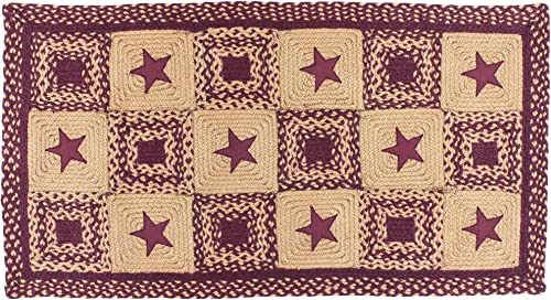 IHF Home Decor Applique Country Star Wine Braided Rug 20 x 30 to 8 x10 Rectangle Accent Floor Carpet Natural Jute Material Doormat Wine, Tan Woven Collection 5 x 8