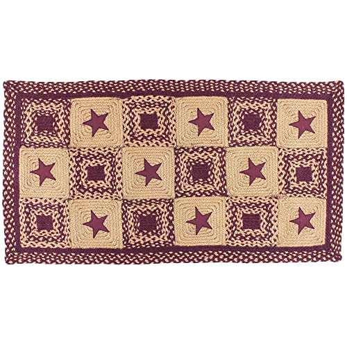 IHF Braided Rectangle Area Accent Rug Applique Country Star Wine 20X30 to 8 x10 4 x6