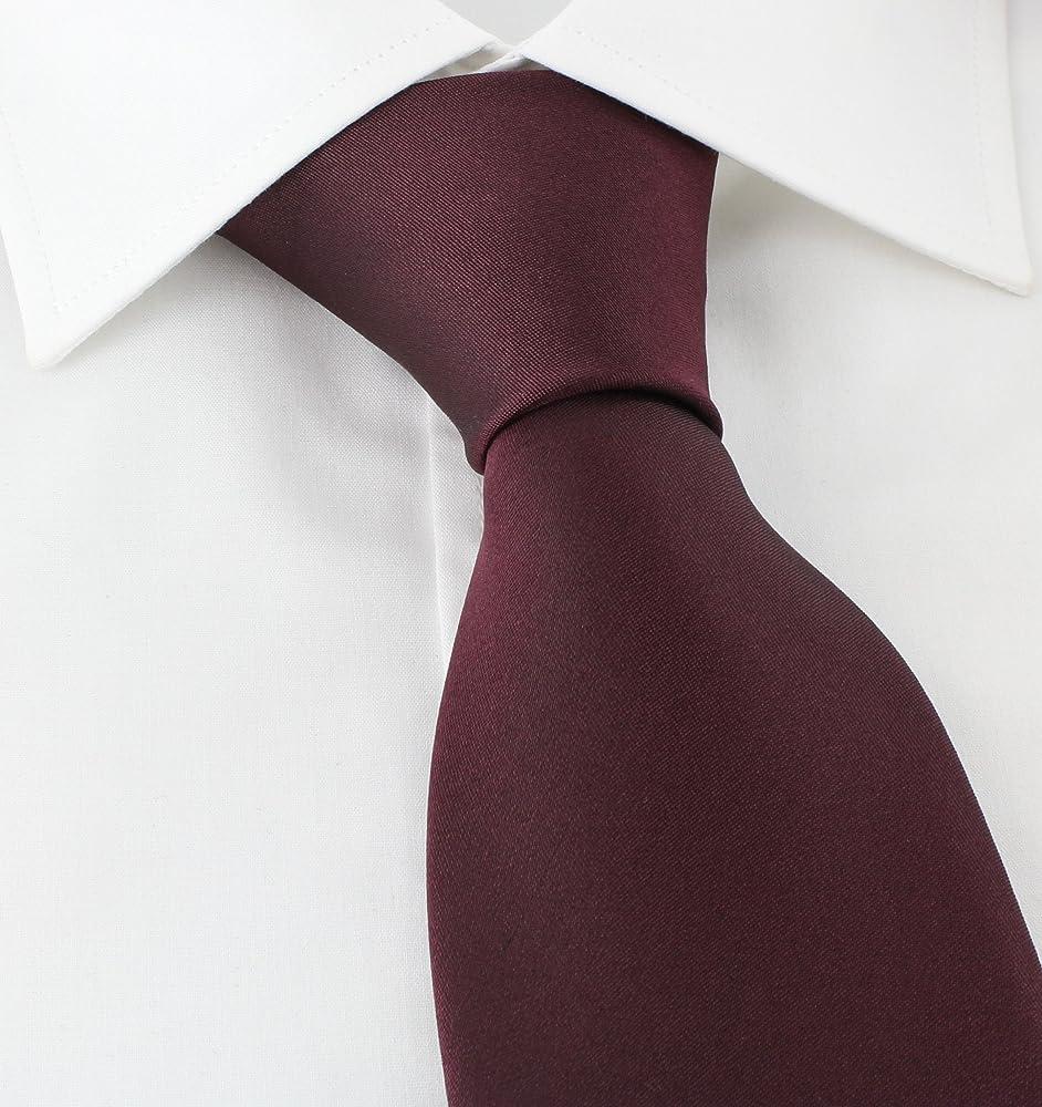 Corbata de seda lisa Rojo Wine Taille unique: Amazon.es: Ropa y ...
