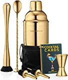 Cocktail Shaker Set Drink Mixer // 8-piece Portable Bartender Kit with 24oz Martini Shaker Bar Tool Set // 2 Pourers…