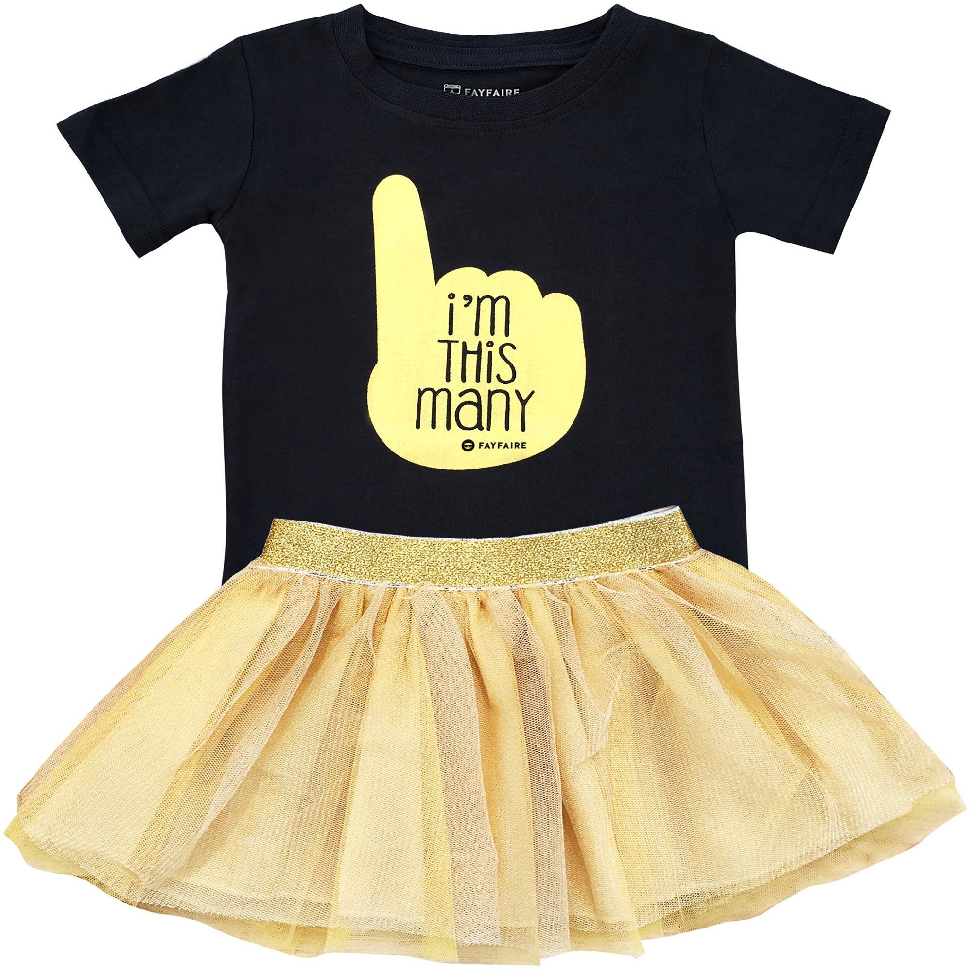 Fayfaire First Birthday Shirt Outfit: Boutique Quality 1st Bday I'm This Many 12M