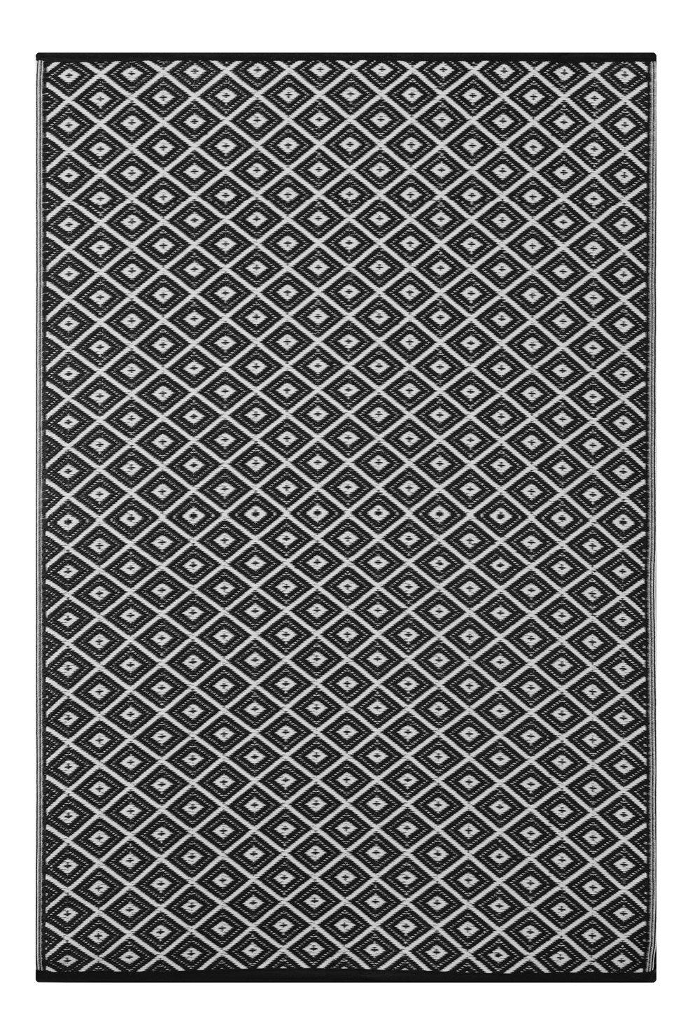 Lightweight Outdoor Reversible Plastic Rug Arabian nights Black / White - 150 cm x 240 cm (5ft x 8ft) by Green Decore