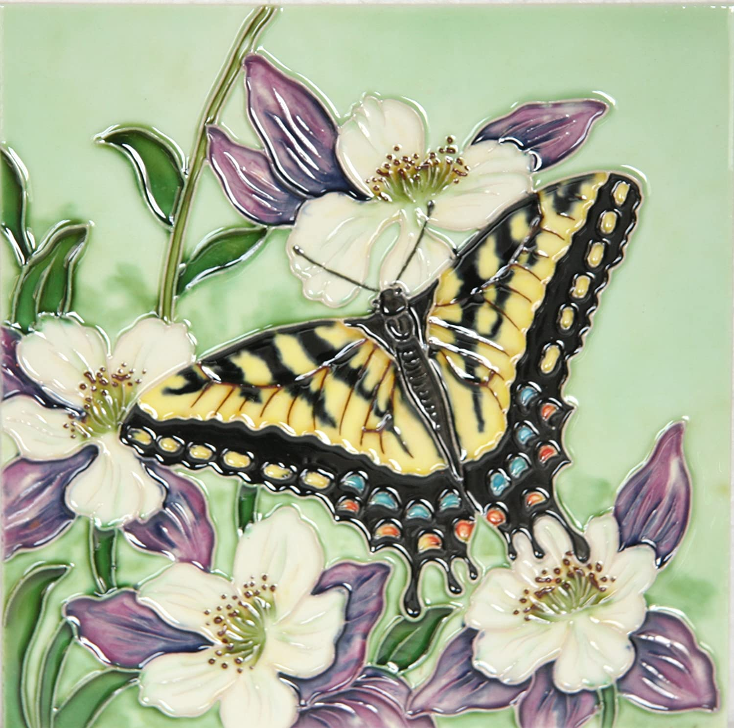 YH-Arts 'Butterfly Two Ceramic Tiles, Multi-Colour, 8 X 8-Inch 8x8-420