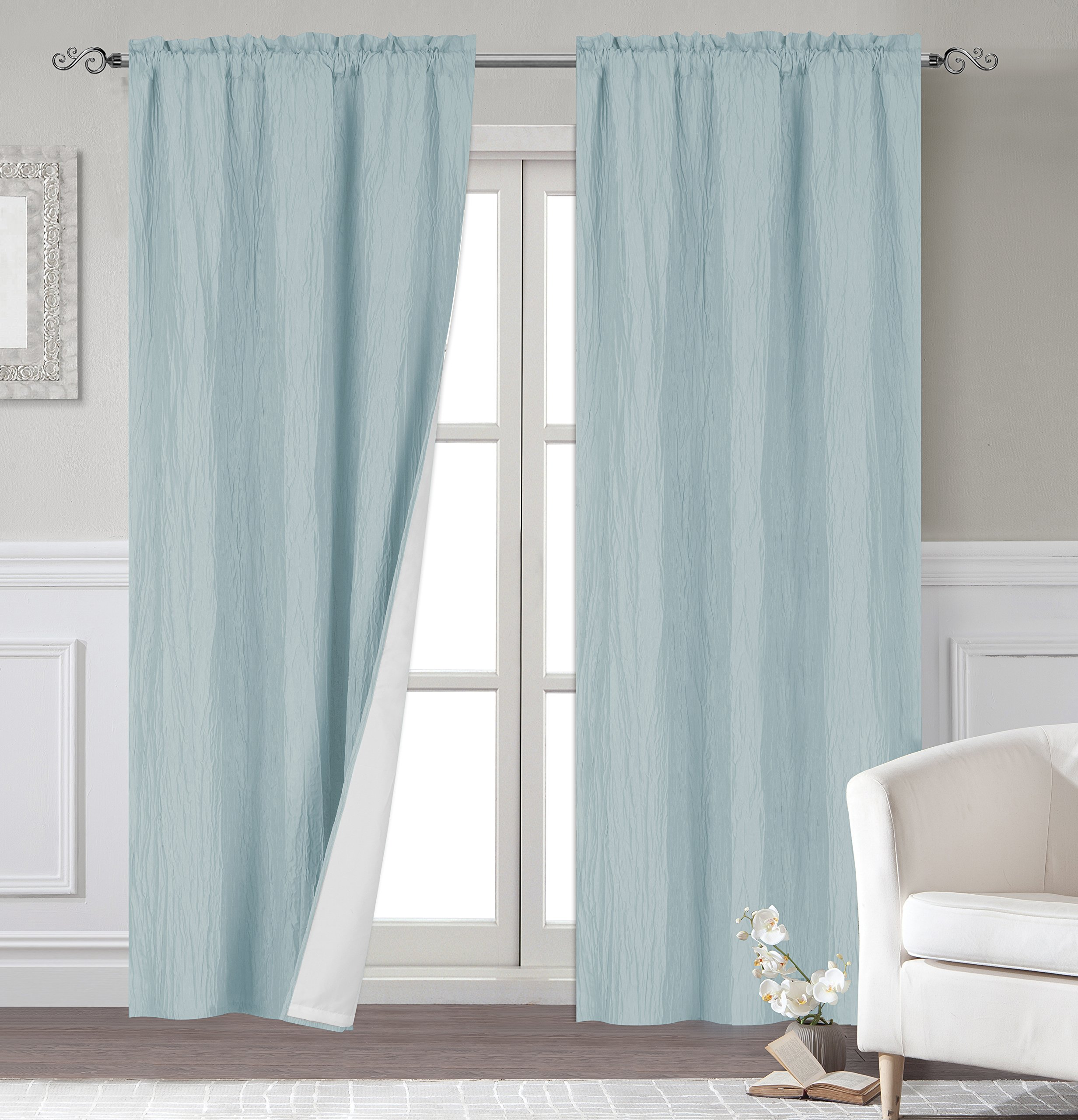 Dainty Home Venetian Blackout Panel Pair with Lining, 76x84'', Spa