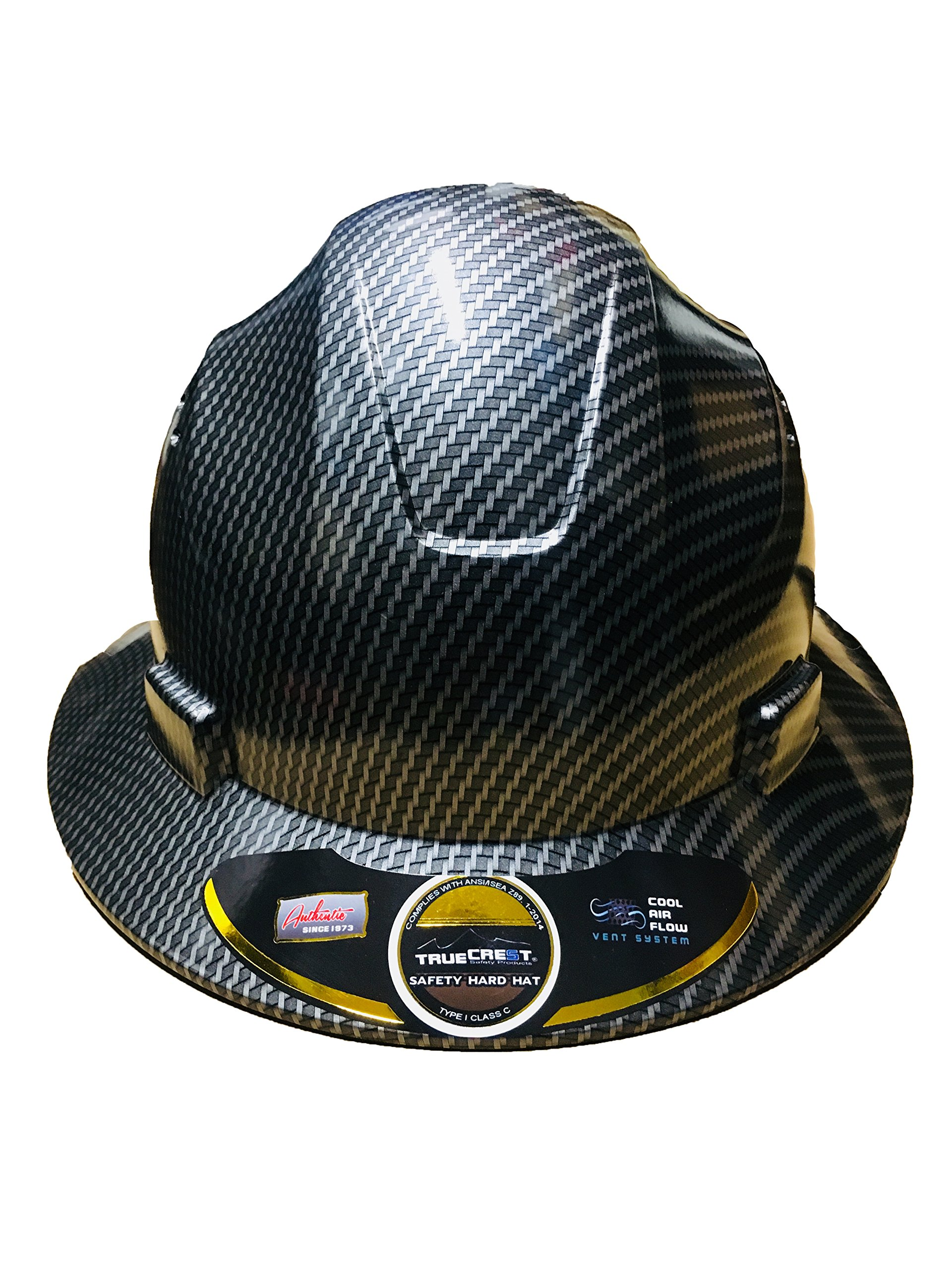 HDPE Hydro Dipped Black Full Brim Hardhat Carbon Fiber with Fast-Trac Suspension by IM Products