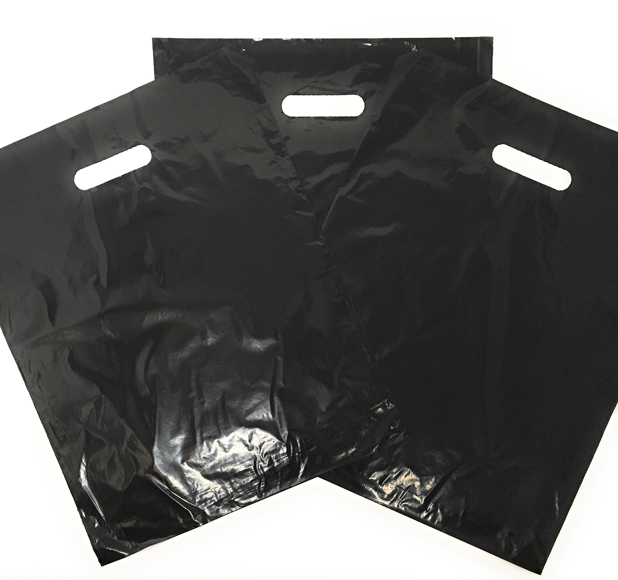 100 Pack 12'' x 15'' with 1.25 mil Thick Black Merchandise Plastic Glossy Retail Bags | Die Cut Handles | Perfect for Shopping, Party Favors, Birthdays, Children Parties | Color Black | 100% Recyclable