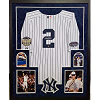 $849 » Derek Jeter New York Yankees Autograph Signed Custom Framed Jersey Authentic Majestic White Pin Stripe With Blue Suede DUAL PATCHES Matted 4…