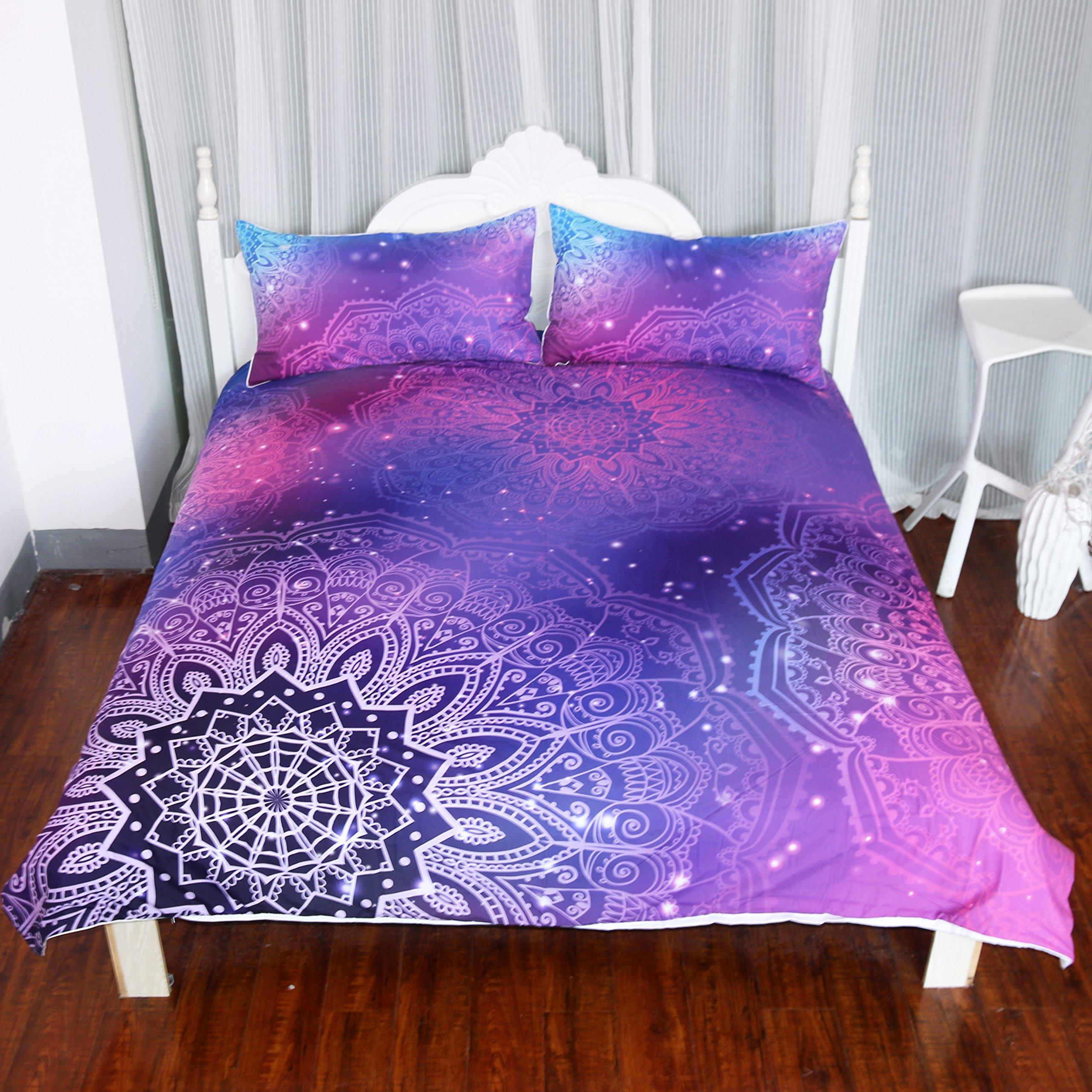 ARIGHTEX Iridescent Pink Purple Blue Mandala Duvet Cover 3 Pieces Boho Bedding Set Girly Duvet Cover (Queen)