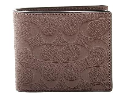 78bb4a1cd45e Coach Mens Compact Id Signature Crossgrain Leather Wallet, F75371  MAH,Mahogany,Small