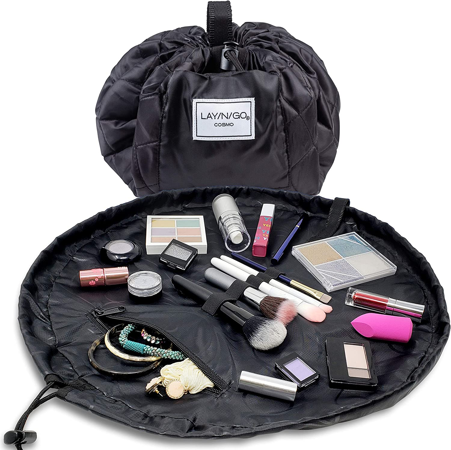 Lay-n-Go Drawstring Makeup Bag – Black, 20 inch - Travel Cosmetic Bag, Scrunch Sac Makeup Bag Opens Flat for Easy Access, Makeup Pouch, Durable and Stylish