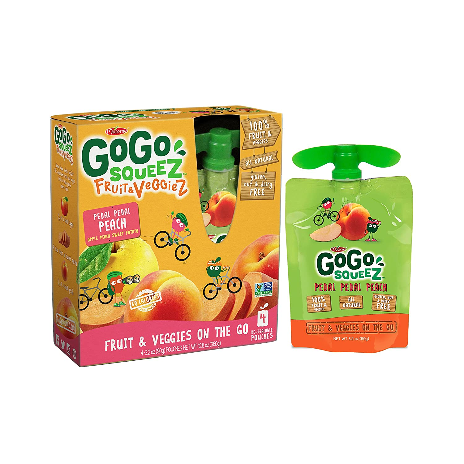 Go Go Squee Z Fruit & Veggie Z On The Go, Apple Peach Sweet Potato, 3.2 Ounce Portable Bpa Free Pouches, Gluten Free, 48 Total Pouches (12 Boxes With 4 Pouches Each) by Go Go Squee Z