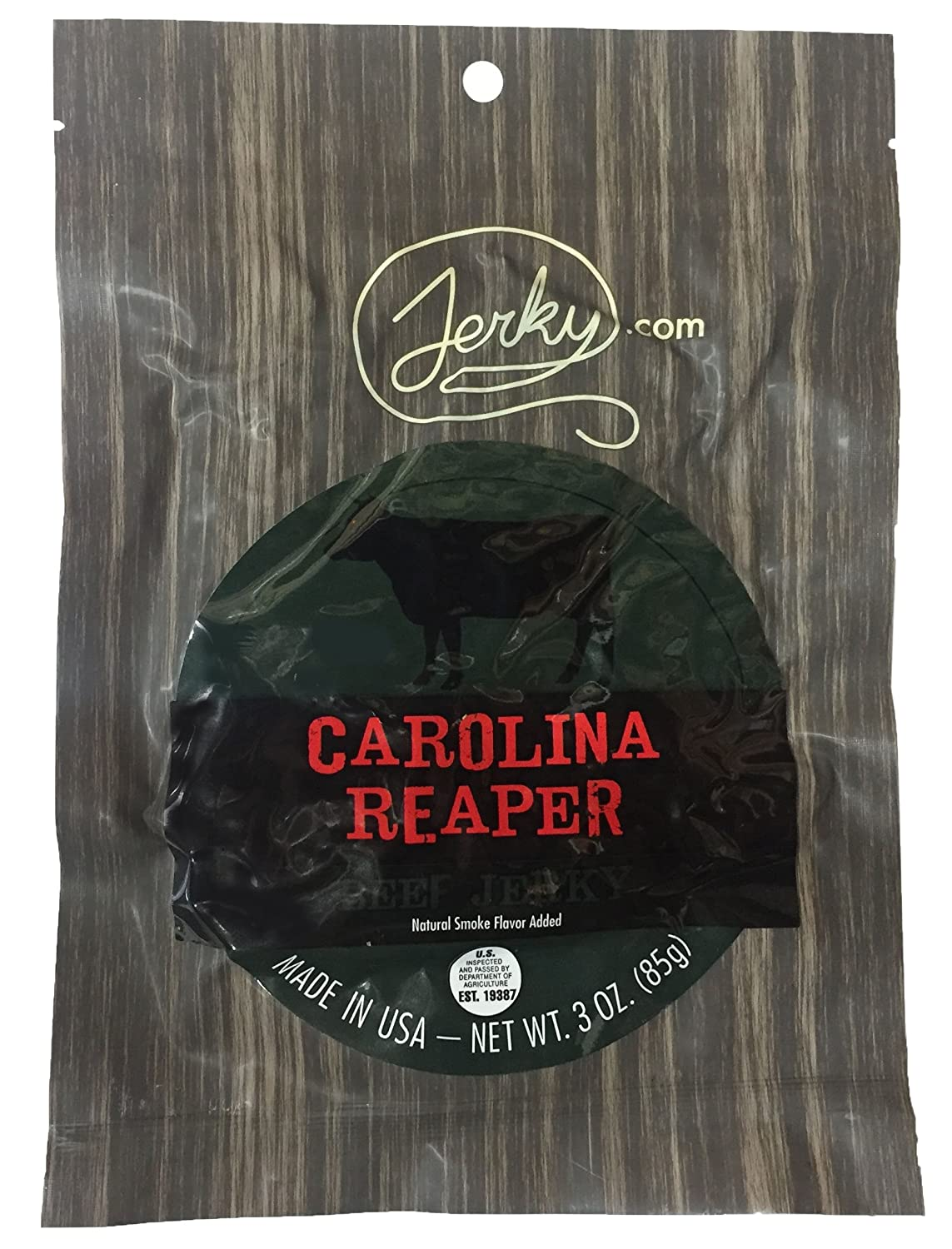 Jerky.com's Carolina Reaper Beef Jerky - Hottest Jerky in the World - All-Natural, No Added Preservatives, No Added Nitrites or Nitrates - 3 oz.