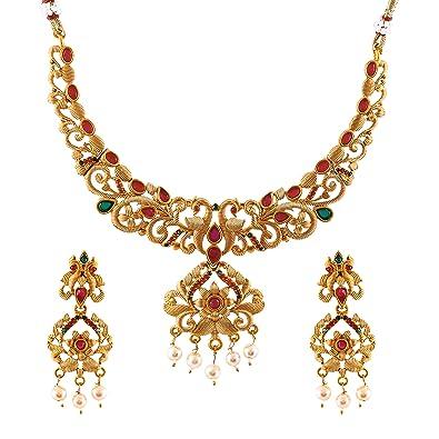 Buy MEENAZ South Indian Temple Jewellery Peacock Laxmi Mala
