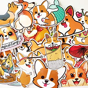 10 Random Cute Colorful Animals Corgi Husky Cats Stickers Car Laptop Waterbottle Decals for Kids Teens Adults (Corgi)