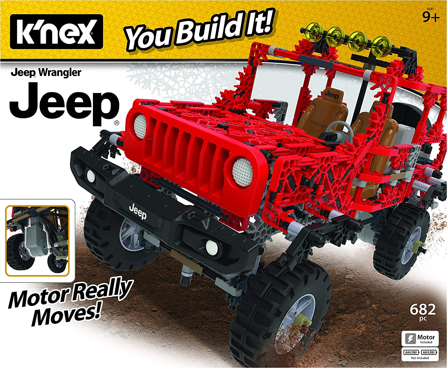 Build A Jeep >> K Nex Jeep Wrangler Building Set 682 Parts Authentic Battery Powered Motorized Replica Stem Toy Ages 7 Up