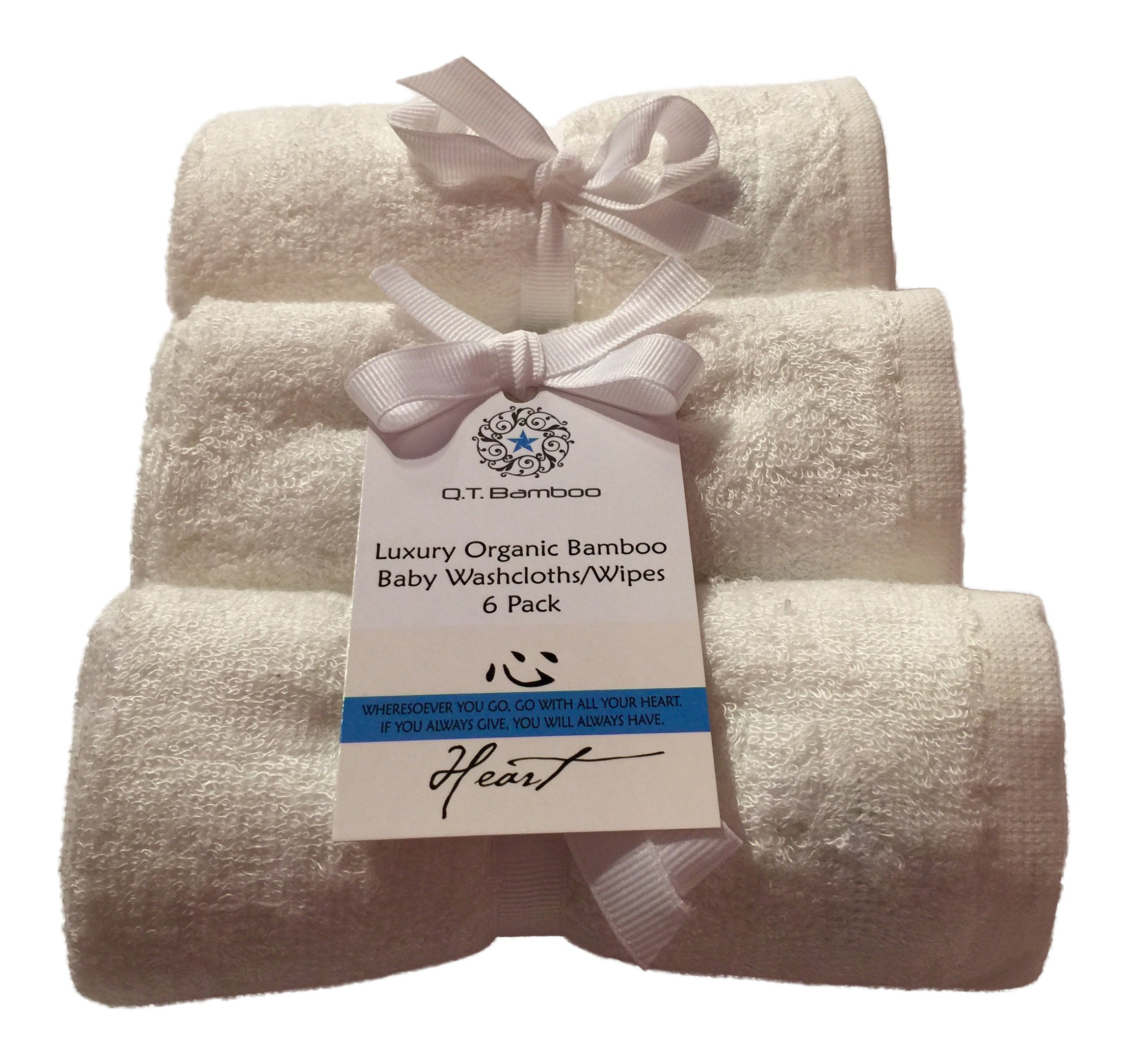 Bamboo Washcloths Face Towels for Sensitive Skin Great for Baby or Adult 6 Pack (White) by Q.T. Bamboo