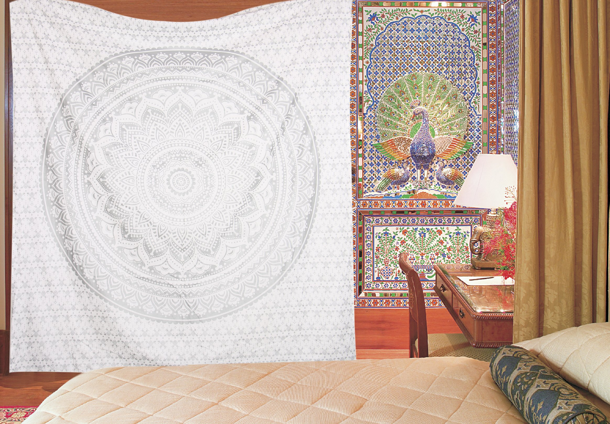 Apoorva's silver Ombre Tapestry, Ombre Bedding , Mandala Tapestry, Oreginal Silver Print Indian Mandala Wall Art Hippie Wall Hanging Bohemian Bedsprea