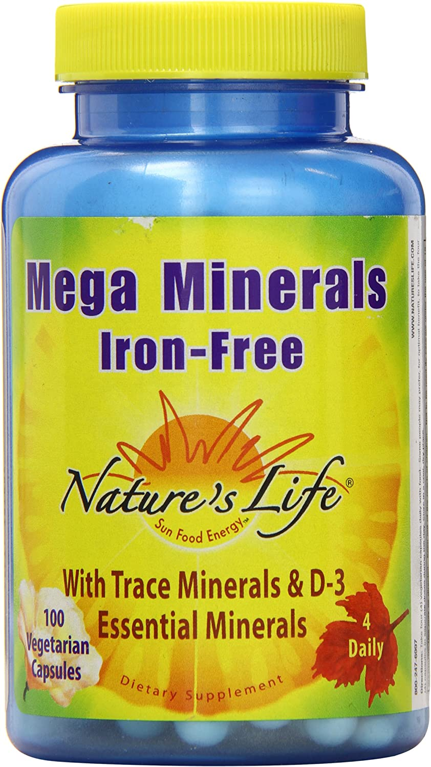 Nature's Life Veg Capsules, Mega Minerals, Iron Free, 100 Count: Health & Personal Care