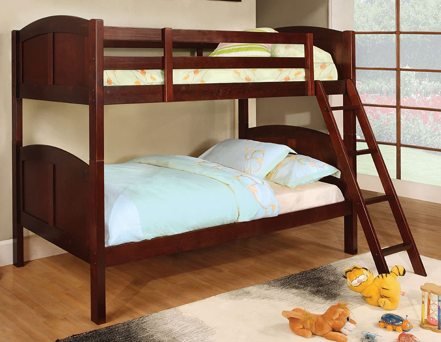 Furniture of America Cottage Bunk Bed, Twin, Cherry