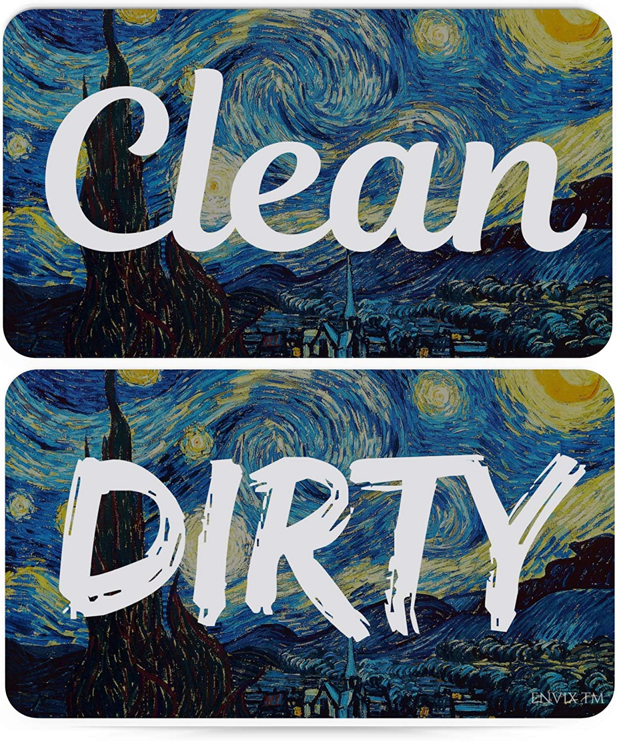Dishwasher Magnet Clean Dirty Sign - Strongest Magnet Double Sided Flip - With Bonus Metal Magnetic Plate - Universal Kitchen Dish Washer Reversible Indicator Van Gogh (Starry Night)