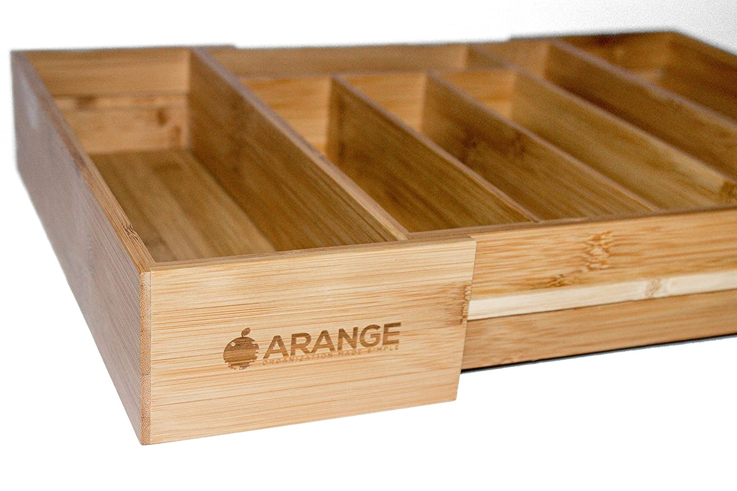 Expandable Bamboo Wood Cutlery Tray Drawer Utensil Organizer for silverware and cooking utensils with 7 sections 2 Adjustable parts to fit comfortable in kitchen drawers by Arange