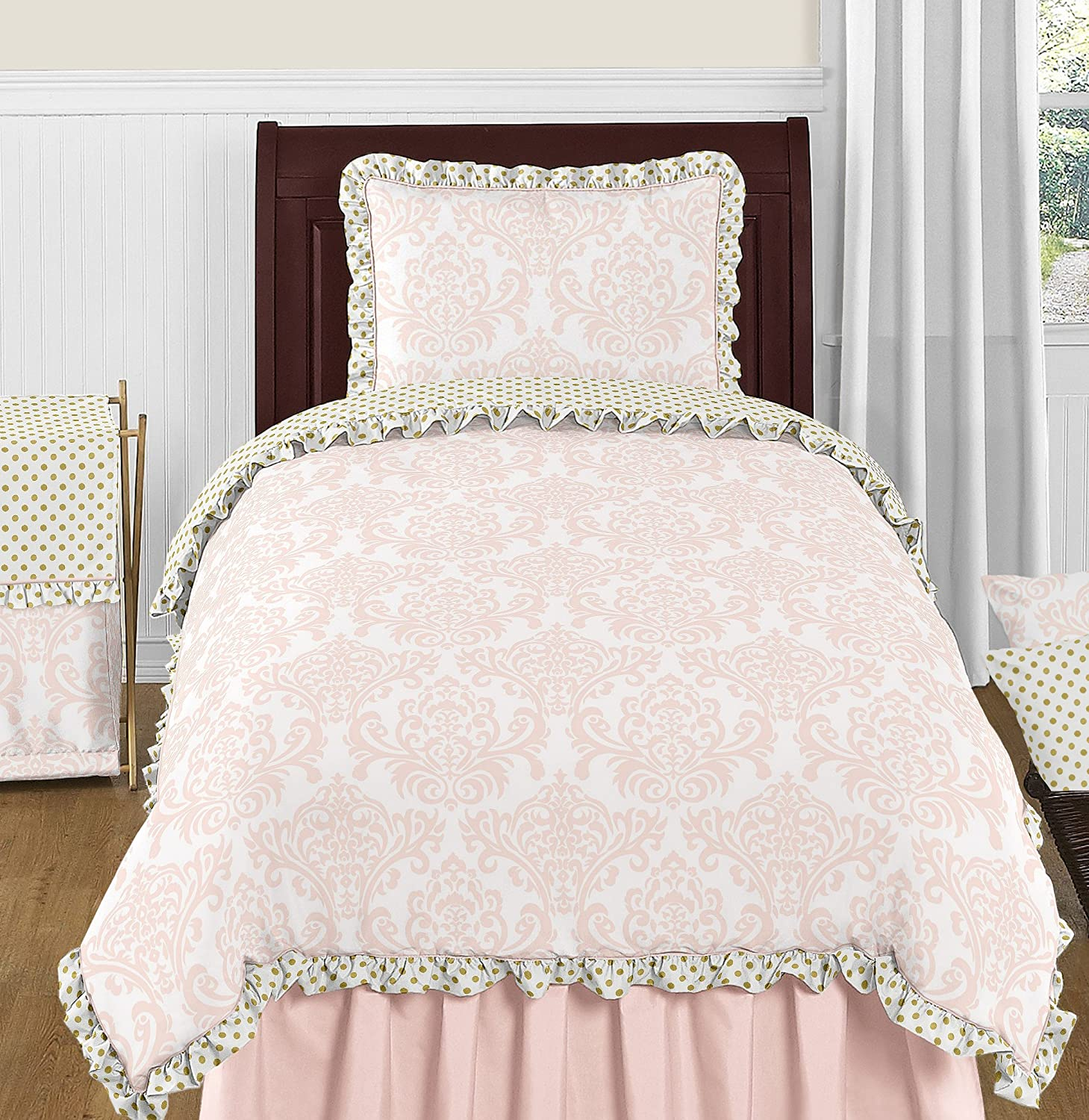 Blush Pink White Damask and Gold Polka Dot Amelia 4 Piece Girls Kids Childrens Twin Bedding Set