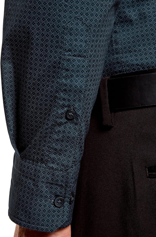 oodji Ultra Uomo Camicia con Stampa Fitta Geometrica