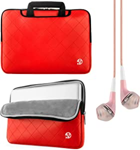 Faux Leather Red Gummy Sleeve Carrying Case for Acer Aspire One Cloudbook 14 inch Laptops with Earbud