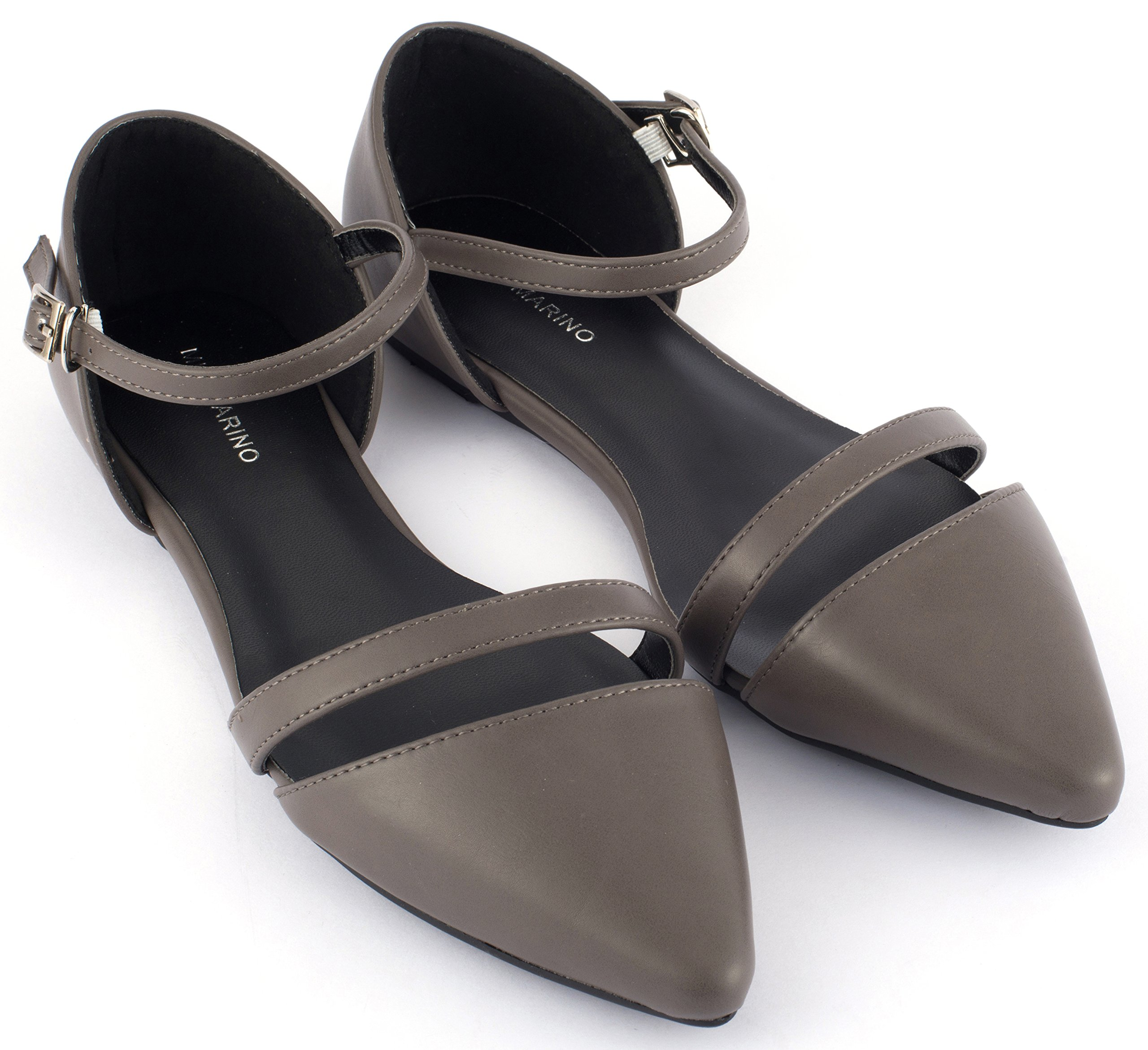 Mio Marino D'Orsay Pointed Toe Flats - Womens Ankle Strap Dress Shoes - Quick Release Buckle (Gray, 10)
