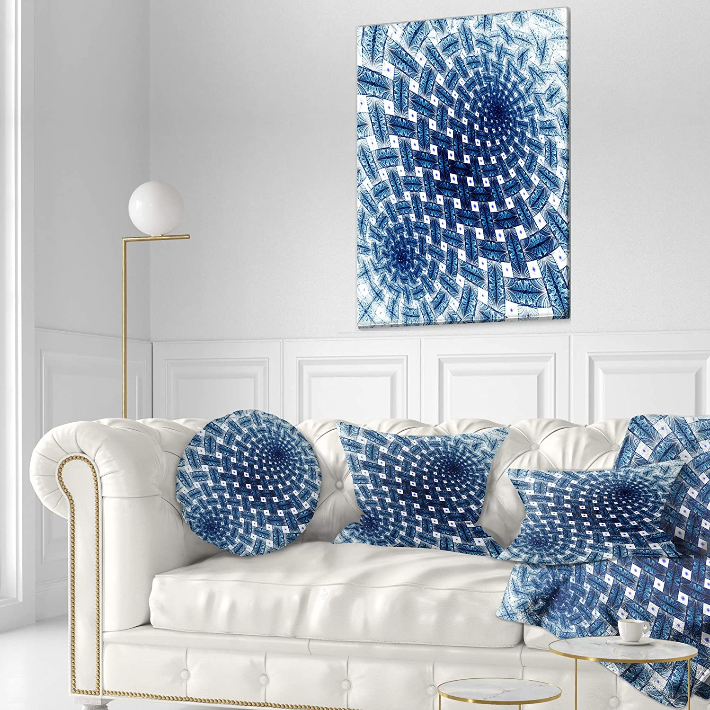Insert Printed On Both Side Sofa Designart Cu12036 12 20 3d Shaped Blue Large Fractal Flower
