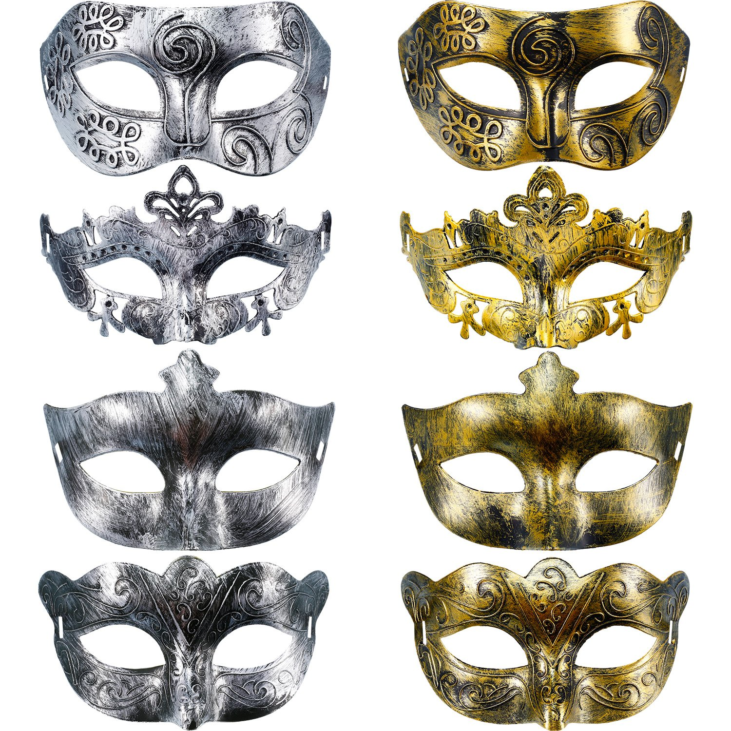 Hestya 8 Pieces Vintage Antique Masks Masquerade Carnival Mask (Gold Silver)