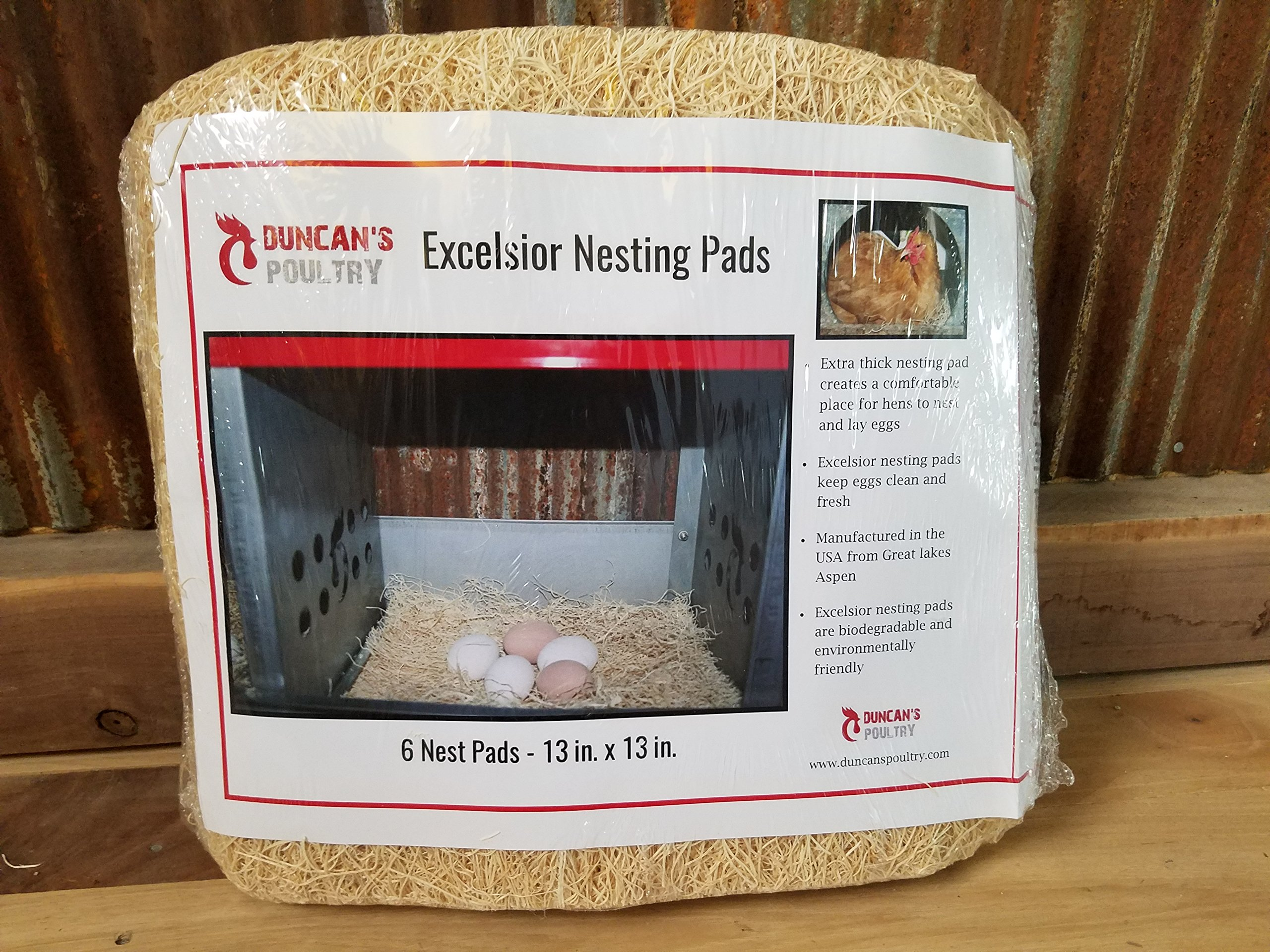 Duncan's Poultry 13''x13'' Excelsior Chicken Nest Pads- 6 Pack!!!
