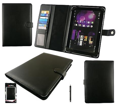 Emartbuy® Negro Stylus + Universal Negro Básico Wallet Case Carcasa Funda Con Las Ranuras Para Tarjeta Conveniente Para Samsung Galaxy Note N8000 10.1 ...