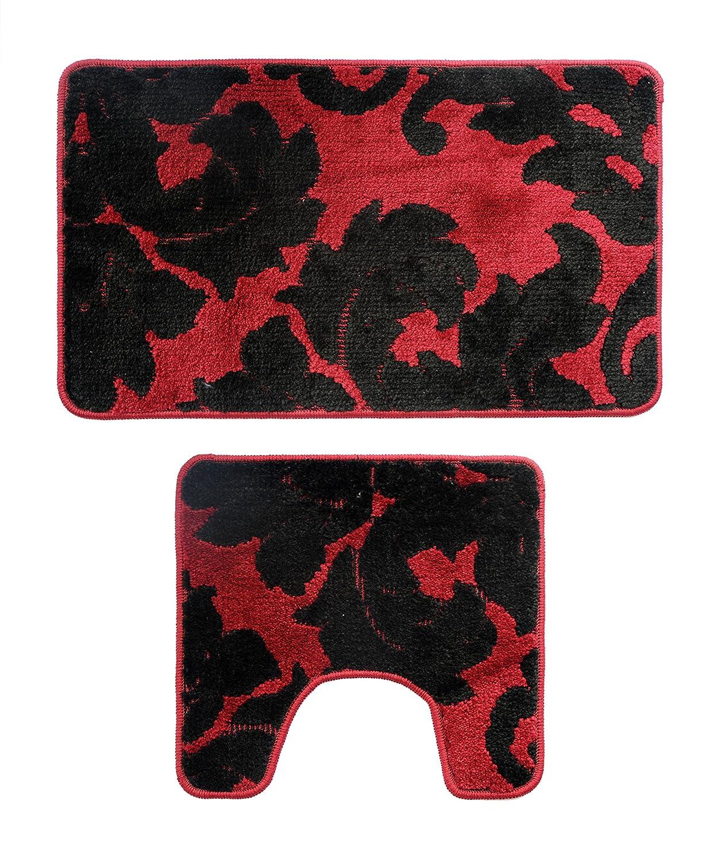 Attraction Design Bathroom 2 Pieces Bath Rug Pedestal Mat Set Contour and bath mat red and black